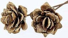 8 Stk Pinienrose natur braun 8cm Rosen Exoten 40cm mit Stiel Trockendeko Gesteck Dekomaterial Herbstdeko Allerheiligen Weihnachtsdeko Blumen Trockenblumen Trauerfloristik