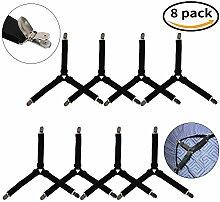 8 Stück Bett Blatt Befestigungen, AFUNTA Dreieck verstellbare elastische Greifer Clip Straps, Matratzenauflage Ecke Hosenträger Halter, 4 Stück 3-Wege und 4 Stück gerade - schwarz