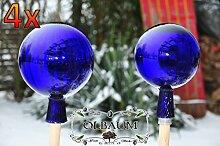 8 Stück ca. 18 & 25 cm DUNKELBLAU gross Gartenkugel Sonnenfängerin Kugelform gartenkugeln, Sonnenfänger-Kugel, Sonnenfänger-Scheibe, Sonnenfängerscheiben, Gartendeko FROSTSICHER, lichtbeständig und WINTERFEST, Rosenkugel Rosenkugeln Glas Deko