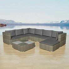 8-Tlg. Garten-Lounge-Set Mit Auflagen Poly Rattan