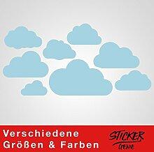 8 WOLKEN SET XL - Wolke Wandtattoo Wandaufkleber Sticker Aufkleber Wölkchen Himmel (Babyblau)
