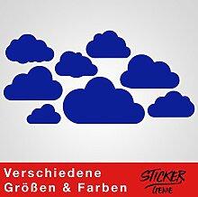 8 WOLKEN SET XL - Wolke Wandtattoo Wandaufkleber Sticker Aufkleber Wölkchen Himmel (Blau)