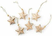 8 x 3 Holzsterne natur Sterne Weihnachtsanhänger