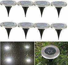 8 X Gartenleuchten Solar Bodenleuchten Solarbetriebenen LED Strahler Weg Leuchten mit Weiß Licht und 2LED Wasserfeste LED Lampen für Garten Rasen Weg Terasse