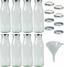 8 x Milchflaschen 0,5 Liter mit 16 x PVC freiem
