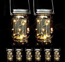 8 x Solar Glas im Set, je 8 LED im Einmachglas,