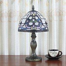 8-Zoll-Pastoral Buntglas Tiffany Tischlampe Schlafzimmer Lampe Nachttischlampe