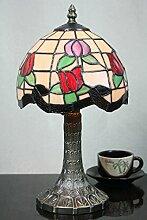 8-Zoll-Pastoral Buntglas Tiffany Tulip Tischlampe Schlafzimmer Lampe Nachttischlampe