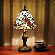 8-Zoll-Weinlese-Pastoral Stained Glass Dragonfly Tiffany Tischlampe Schlafzimmer Lampe Nachttischlampe