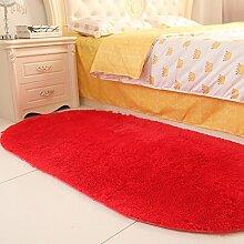 80 * 160cm Wohnzimmer Couchtisch Eingangshalle Teppich, Schlafzimmer Bett vorne Teppich, ovale Nachttischdecke, Bett vorne Bettdecke ( Farbe : Rot )