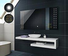 80 cm x 60 cm Design Badspiegel mit LED Beleuchtung von Artforma | Wandspiegel Badezimmerspiegel | TOUCH SCHALTER + WETTERSTATION