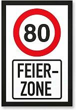 80 Jahre Feierzone, Schild - Geschenk 80. Geburtstag, Geschenkidee Geburtstagsgeschenk zum Achtzigsten, Geburtstagsdeko / Partydeko / Party Zubehör / Geburtstagskarte
