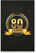 80 Jahre Gold, Schild - Geschenk 80. Geburtstag, Geschenkidee Geburtstagsgeschenk zum Achtzigsten, Geburtstagsdeko / Partydeko / Party Zubehör / Geburtstagskarte