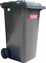 80 L SULO Papierkorb, Mülleimer, Mülltonnenaufkleber, recycling, Haushalt Abfallbehälter mit Deckel, Grau (22117)