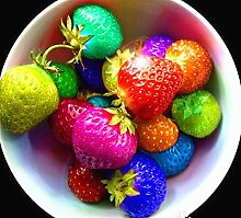 80 Samen / pack Farbe regen Bogen Erdbeeresamen Obst Mehrfarben Erdbeeren Samen Blumensamen Garten Töpfe und Pflanzgefäße