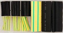 80 tlg Sortiment Schrumpfschläuche schwarz- gelb/grün 3mm - 35mm