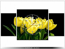 80x40cm - Leinwandbild mit Wanduhr - Moderne Dekoration - Holzrahmen - Gelbe Tulpen - Mark Freeth