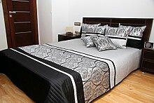 848 Luxus Tagesdecke - grau schwarz -
