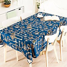85*85cm Dunkel blau Europäisch Schlüssel Instagram Tischdecken Baumwolle leinen Esstisch Rezeption rechteckigen quadrat nicht bügeln umweltfreundlich Tischtuch