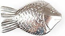 85 Glanz Fische rund mit Loch ca.250gr/Box AS , antiksilber ca. L:3,5cm/B:2cm