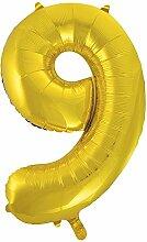 86,4cm Folie gold Zahl 0Ballon 9 9 9