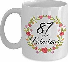 87 and Fabulous Mug Kaffeebecher zum 87.