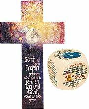 888039 Holzkreuz mit Engel und Gebetswürfel