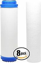 8er Pack Ersatz-Filter Kit für Aqua Pure SST1RO System–inklusive Polypropylen Sediment Filter & Granulat Aktivkohle Filter–Denali Pure Marke