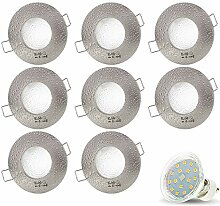 8er Set AQUA IP44 230V LED SMD 4W Kaltweiß Decken