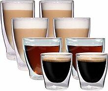 8er-Set doppelwandige Gläser - 2x 80ml Espresso /