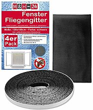 8er Set Fliegengitter Fenster 1,3m x 1,5m in