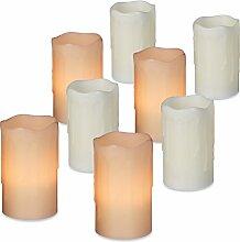 8er Set LED Kerzen, Echtwachs, elektrische Kerzen,