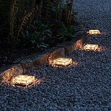 8er Set LED Solar Glas Pflastersteine