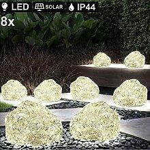 8er Set LED Solar Stein Deko Lampen Garten