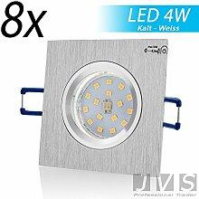 8er SET STAR MINI [quadratisch] 230V LED SMD 4W (300lm) Kaltweiß Decken Einbaustrahler Einbauspots Deckenspots (Aluminium-gebürstet) inkl. GU10 Fassung mit 15cm Anschlusskabel [Einbautiefe: 7cm, Bohrloch: 60 mm]