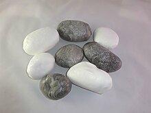 8er Set Steine grau/weiß - Dekosteine, Dekoattrappen aus Plastik, Dekoartikel, Deko Geschenkidee, Stone, Theater und Bühnen Requisite, Steindekoration, Steine aus Kunststoff, Plastikstein für Gabionen