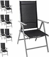 8x Hochlehner Gartenstuhl, Aluminium, hochwertige Textilenbespannung, 8-fach verstellbar, klappbar, Silber/Schwarz - Liegestuhl Positionsstuhl Klappstuhl Terrassenmöbel Balkonmöbel Gartenmöbel