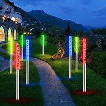 8x LED Steck Garten Leuchte Farbwechsler Edelstahl