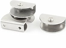 9–12mm Stärke Hälfte rund Regal Glas Clip Clamp Silber Ton 4PCS