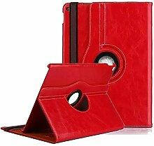 9.7 Zoll Hülle für iPad air,elecfan®Deluxe 360 ° PU Imitation Leather Case Ultra Slim Superleicht Schutzhülle Smart Cover Tasche mit Auto Schlaf / Wach und Standfunktion für Apple iPad Air / iPad 5 (iPad air, Rot)