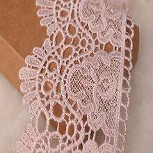 9 CM Breite Europa Kronemuster Inelastische Stickerei Spitzenbesatz, Vorhang Tischdecke Slipcover Braut Selbermachen-Kleidung/Zubehör (3,7 Meter in einem Paket) (pink)