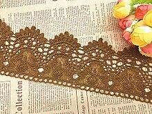 9 CM Breite Europa Kronemuster Inelastische Stickerei Spitzenbesatz, Vorhang Tischdecke Slipcover Braut Selbermachen-Kleidung/Zubehör (3,7 Meter in einem Paket) (kamelfarbig)