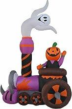 9 Ft Aufblasbare beleuchtete Geist Kürbis sitzt in der Zug Halloween Dekoration für Haus Hof Rasen drinnen draußen