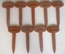 9 Kräuterstecker aus Keramik hergestellt in Deutschland Dekor terra