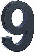 9 LED Hausnummer anthrazit 3D Edelstahl V2A H 20cm
