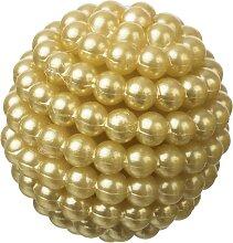 9 Perlenbälle, Deko Kugeln PEARLS D. 28mm gelb
