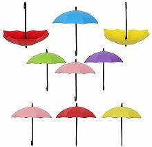 9 Selbstklebende Schlüsselhaken, MEZOOM Bunte Regenschirm Multifunktionaler Halter Schlüssel Schmuck Organizer Halterung Haken Freie Nagel Wandhaken für Kinderzimmer Badezimmer Küche Aufhänger