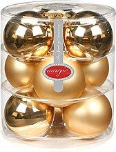 9 Stk. Christbaumkugeln GLAS 90mm ( Brokat Gold glanz matt ) // Weihnachtskugeln Baumkugeln Baumschmuck Weihnachtsdeko Kugeln Glaskugeln Christbaumschmuck Dose Deko Weihnachten 9cm