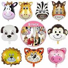 9 Stück Folienballon Tiere, Luftballons Tiere Set