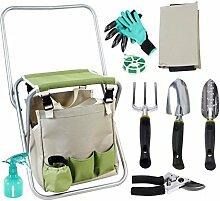 9Stück Garten-Werkzeuge set-gardening Hand Werkzeug-Set, abnehmbare Aufbewahrung Tasche und klappbar Hocker Sitz mit Rückenlehne für Vater Mutter als Geschenk
